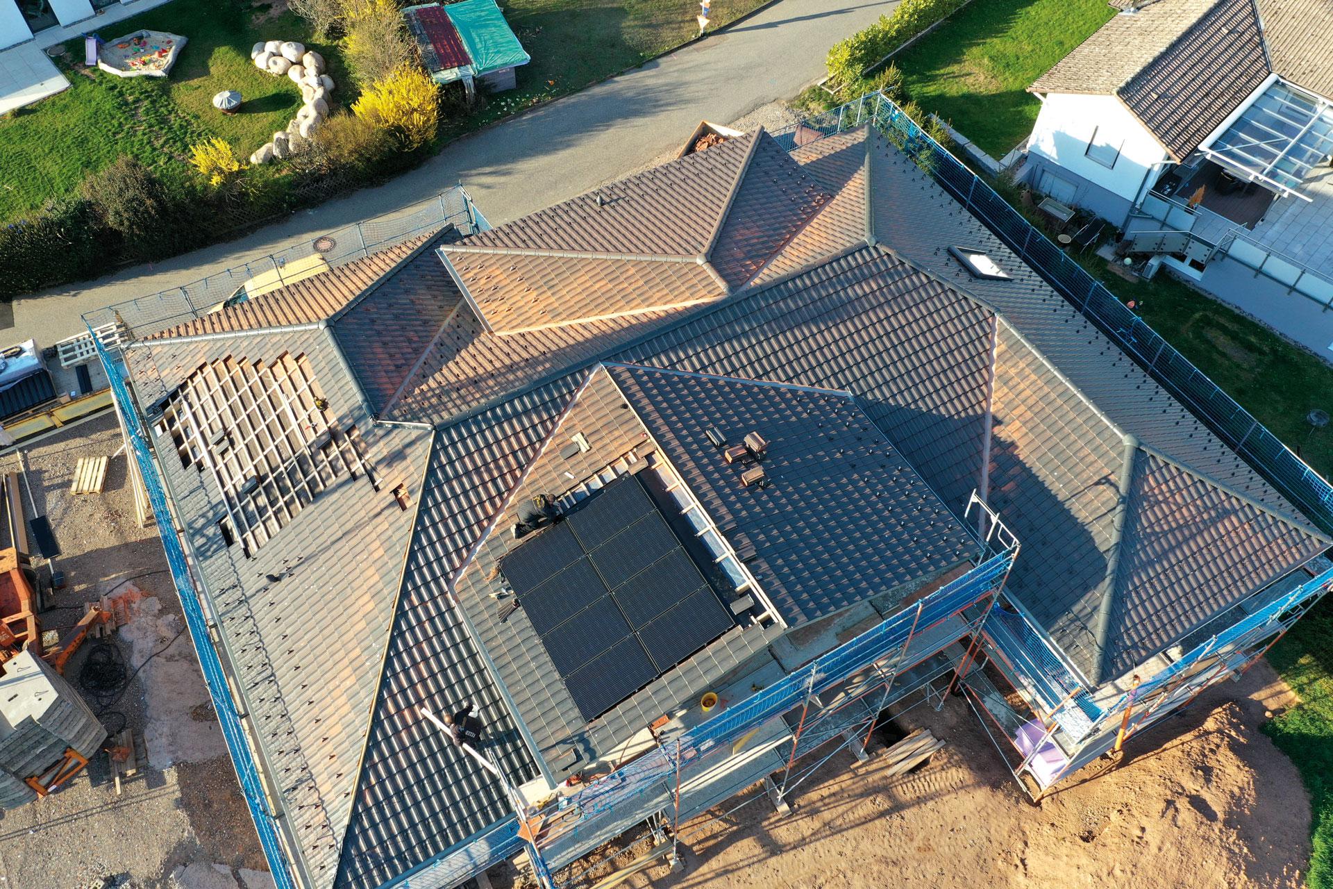 PV-Anlage montiert von oben